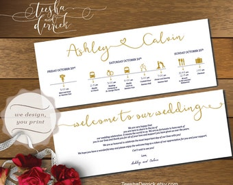 Printable Wedding Timeline card design (t0168), Wedding Itineraries, with welcome note for Welcome Bags  in typography theme.