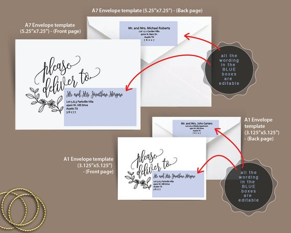 editable a1 and a7 envelope template instant download pdf etsy