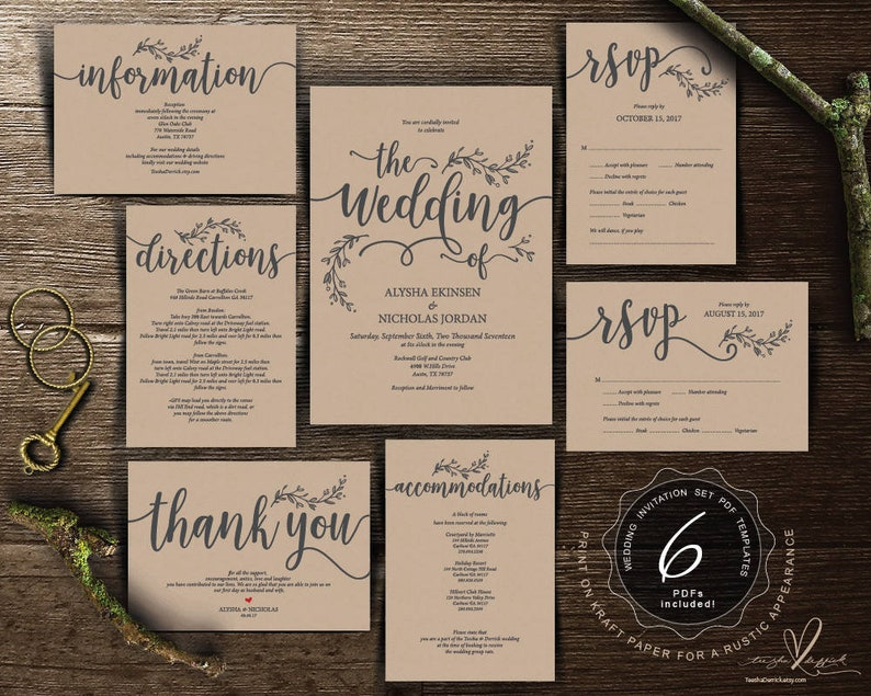 We Do Wedding Invitation Cards Suite Instant Download Pdf Editable Template Kraft Rustic Calligraphy Design Theme Wedding Set Ted418 1