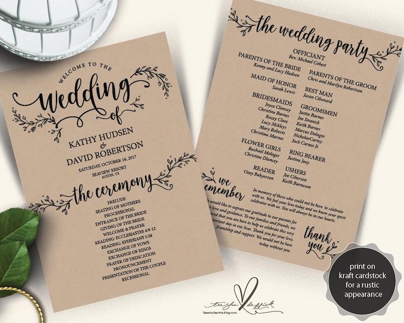 Rustic Wedding Program PDF card template instant download image 0