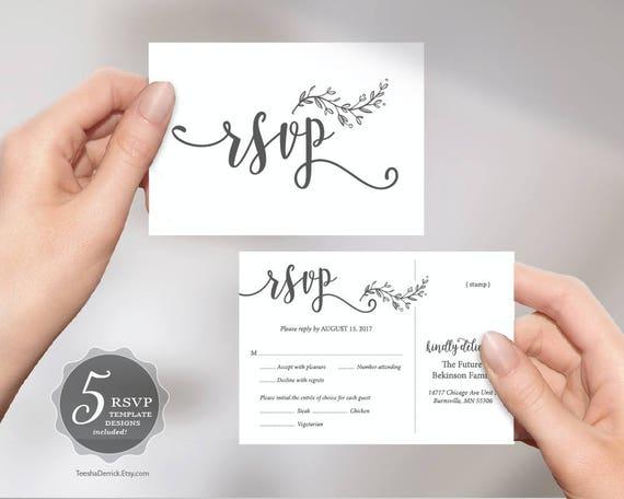 Wedding RSVP Postcard Card Editable PDF Template Instant Etsy