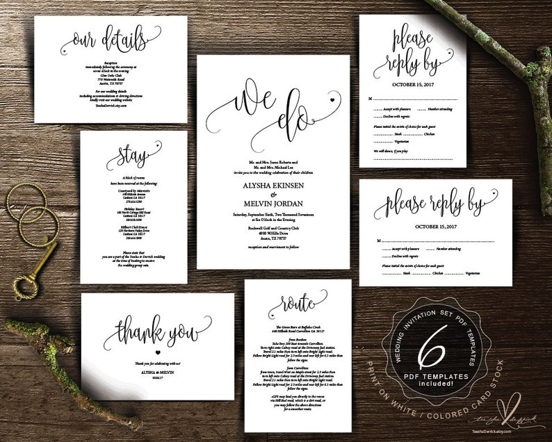 We Do Wedding Invitation Cards Suite Instant Download Pdf Editable Template Kraft Rustic Calligraphy Theme Wedding Set Ted334 1