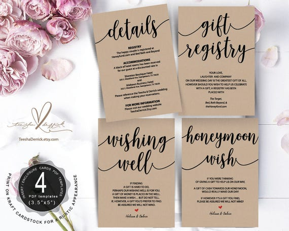 wedding insert cards pdf template instant download gift etsy