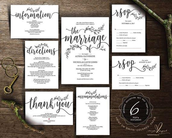 Parents Hosting Wedding Invitation Cards Suite Pdf Editable Template Set Marriage Kraft Rustic Botanic Calligraphy Design Ted418p1