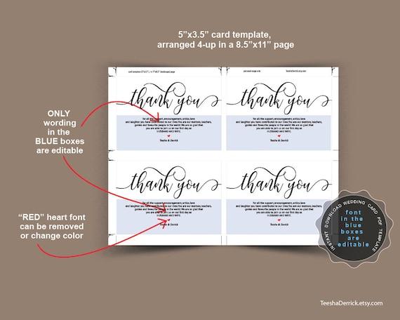 Wedding Thank You Card Template Editable Pdf Template Insert Etsy