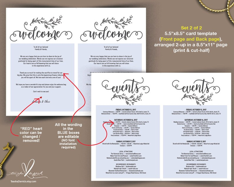Wedding Welcome And Itinerary Card Editable PDF Template Timeline Card Wedding Weekend Welcome Bag Welcome Box Inch TED435 1