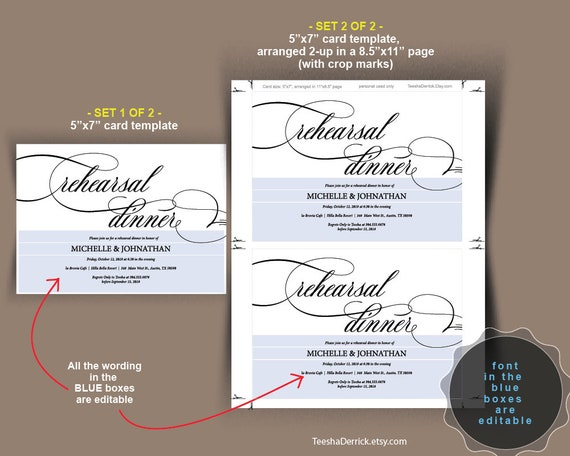 Wedding Rehearsal Dinner Invitation Card Pdf Editable Template The Night Before Our Special Day Rustic Classical Design Theme Ted394 5
