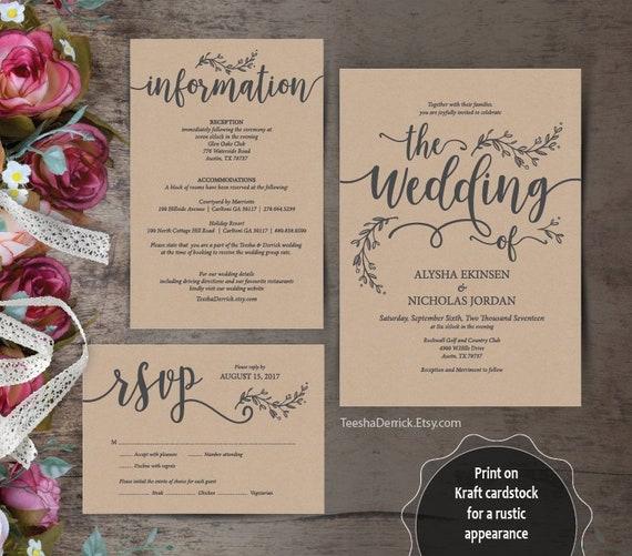 Wedding Invitation Cards Suite Instant Download 3 Pdf Editable Templates Kraft Rustic Botanic Vines Design Theme Ted418 53