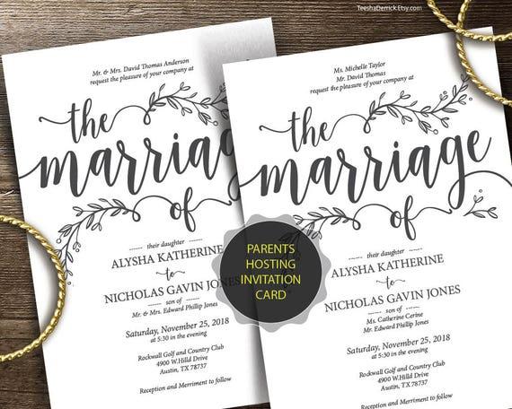 Parents Hosting Wedding Invitation Cards Suite Pdf Editable Template Set Marriage Kraft Rustic Botanic Calligraphy Design Ted418p 1