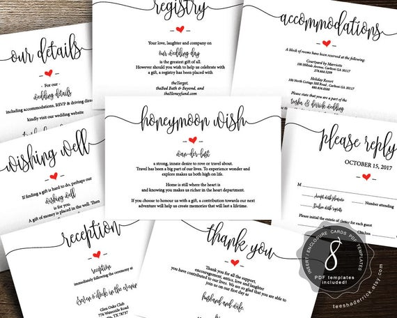 wedding insert cards pdf template instant download etsy
