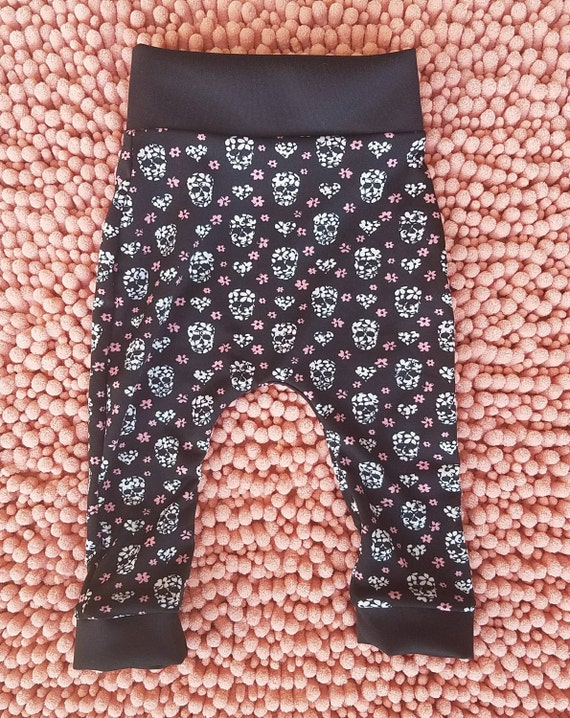 f276b7712835e Edgy Floral Skull baby toddler girl leggings kids girls skull | Etsy