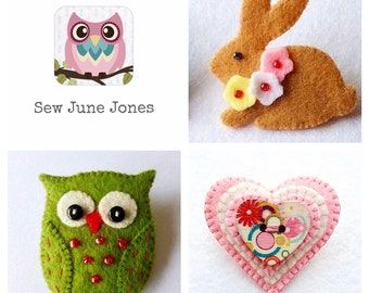 Owl, Bunny and Heart Felt Brooch Pin PDF Sewing Patterns, Set of 3, Instant Download, Easy to Sew