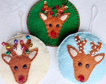 Felt Reindeer Ornament PDF Sewing Pattern- Instant Download - Easy to Sew