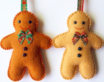 Felt Gingerbread Man PDF Sewing Pattern- Instant Download - Easy to Sew