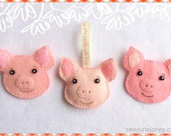 Pig Brooch Pin, Keyring, Ornament Pdf Pattern