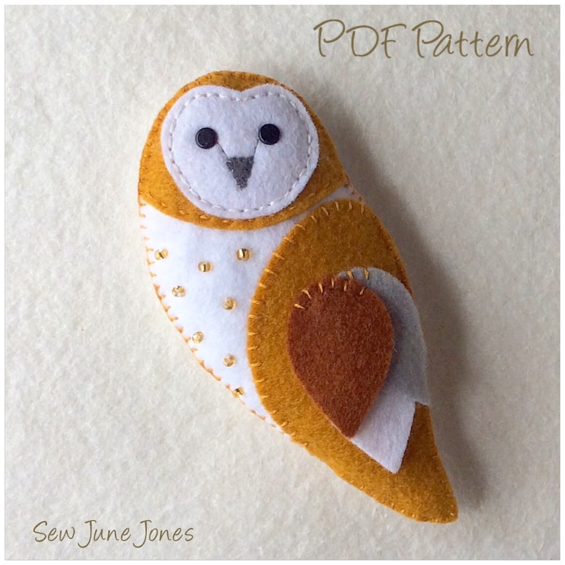Barn Owl Feltie PDF Sewing Pattern Instant Download  Easy to image 0