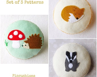 PDF Sewing Patterns, Set of 3 Woodland Animal Pincushions