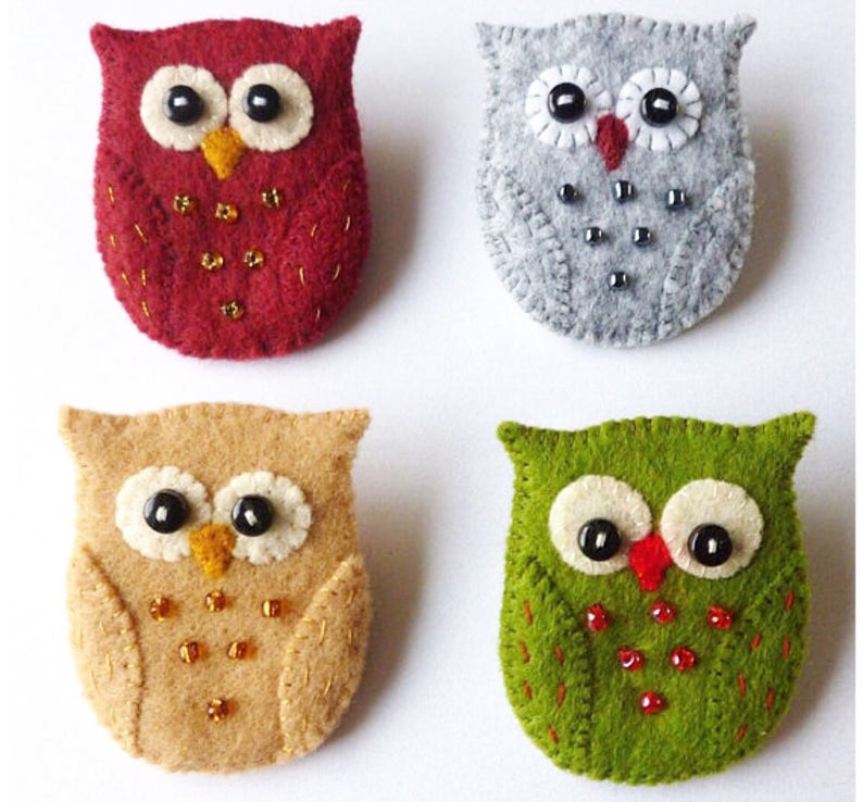 Felt Owl Brooch Pin PDF Sewing Pattern Instant Download  image 0