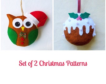 Santa Owl and Christmas Pudding Felt PDF Sewing Patterns,  Set of 2, Instant Download, Easy Step-by-Step Instructions