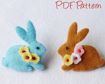 Felt Bunny Brooch Pin PDF Sewing Pattern- Instant Download - Easy to Sew