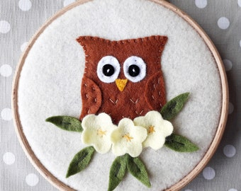 Owl Felt Appliqué PDF Sewing Pattern - Embroidery Hoop Art - Instant Download - Easy to Sew