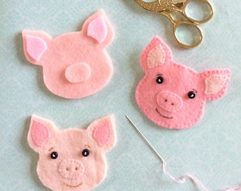 Felt Pig PDF Sewing Pattern- Instant Download - Easy to Sew
