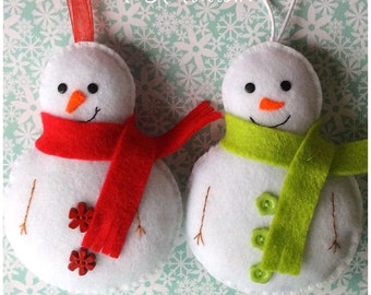 Felt Snowman PDF Sewing Pattern- Instant Download - Easy to Sew