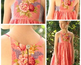 Hourglass Dress - girls' summer dress - PDF pattern