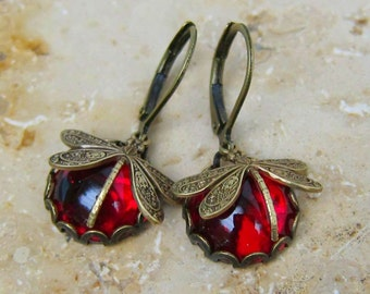 Dragonfly earrings, dragonfly glass red bronze or silver 12mm cabochon