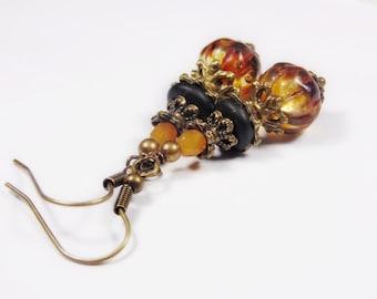 Vintage style bronze earrings