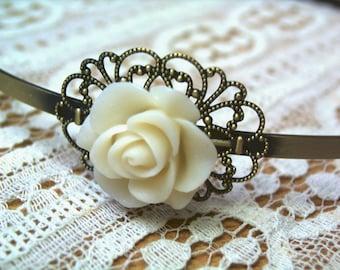 Antique-style rose headband