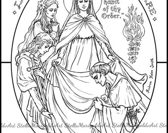 Our Lady Of Fatima Coloring Page Etsy