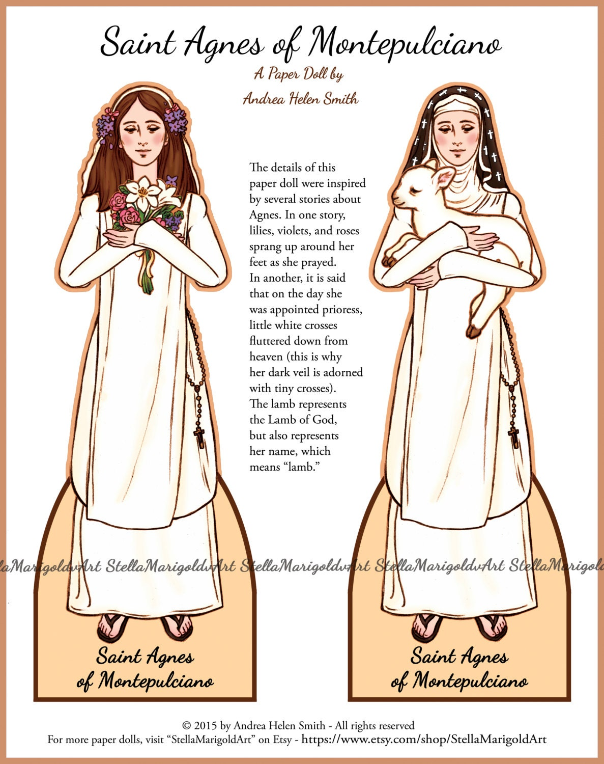 Saint Agnes of Montepulciano Paper Doll Traditional | Etsy