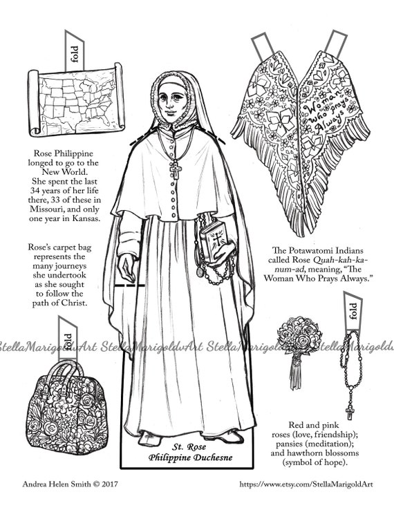 Saint Rose Philippine Duchesne Paper Doll Color and BnW | Etsy