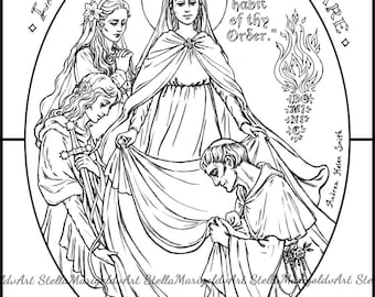 blessed reginald receiving the dominican habit from the blessed virgin coloring page