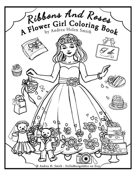 Flower Girl Coloring Pages Etsy