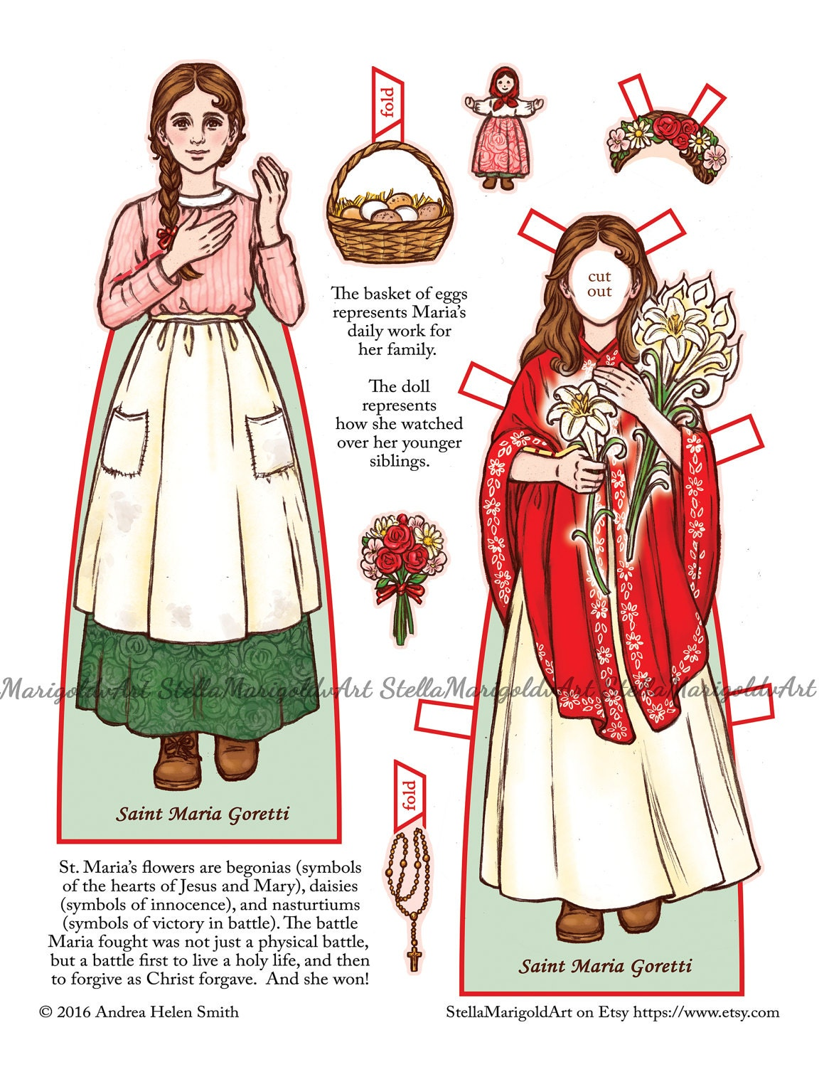 Saint Maria Goretti Paper Doll Color and BnW | Etsy