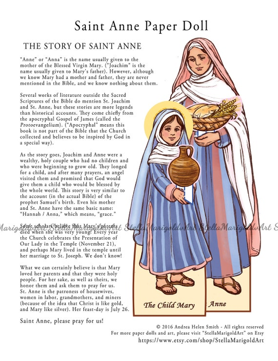 Saint Anne Paper Doll Color and BnW