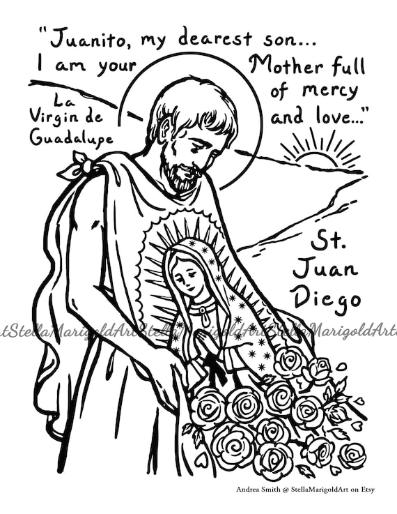 Saint Juan Diego Coloring Page Black and White and Color | Etsy