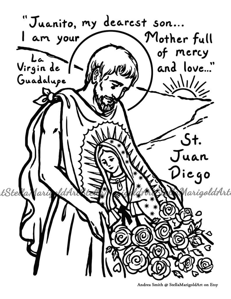 Saint Juan Diego Coloring Page Black And White And Color Etsy