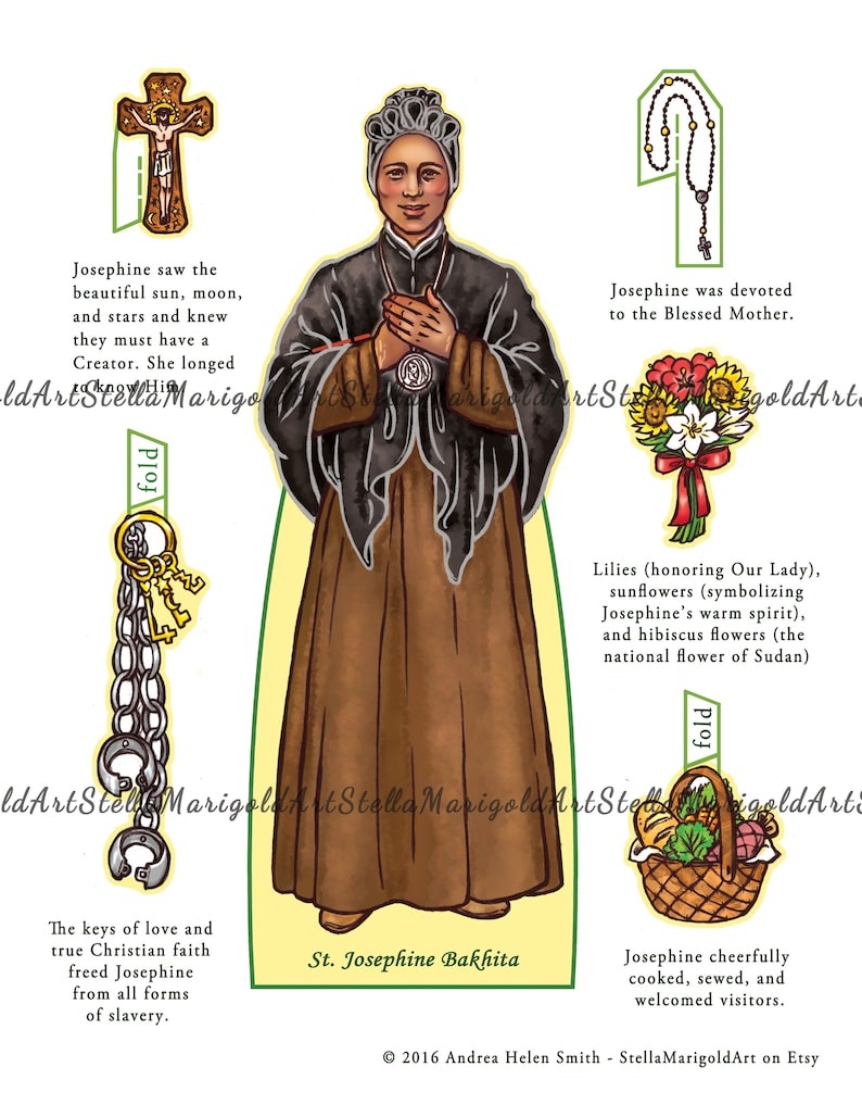 Saint Josephine Bakhita Paper Doll Color and BnW Bonus image 1