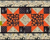 Happy Jack Halloween Table Runner Placemat Pattern, 19 x 55 for the table runner and 18 x 22 for the placemat
