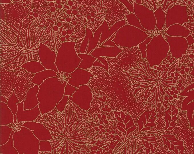 Gilded Greenery Metallic Crimson designed by Moda Fabrics, 100% Premium Cotton by the Yard