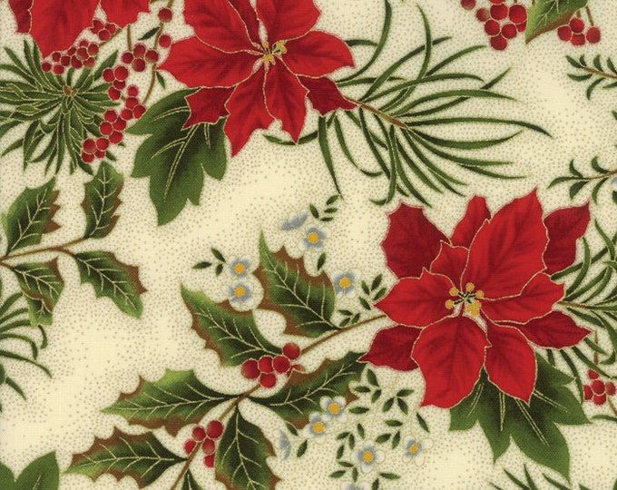 Gilded Greenery Metallic Cream Floral designed by Moda Fabrics, 100% Premium Cotton by the Yard