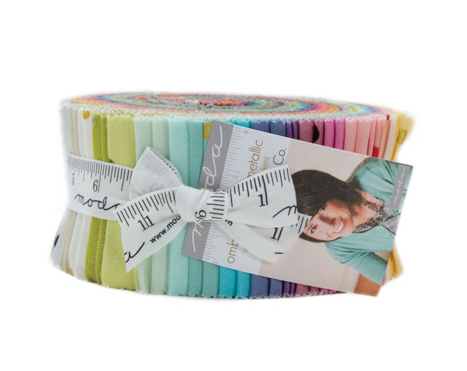 Ombre Confetti Metallic Jelly Roll (42 - 2 1/2 x WOF Strips) designed by V and Co. for Moda Fabrics