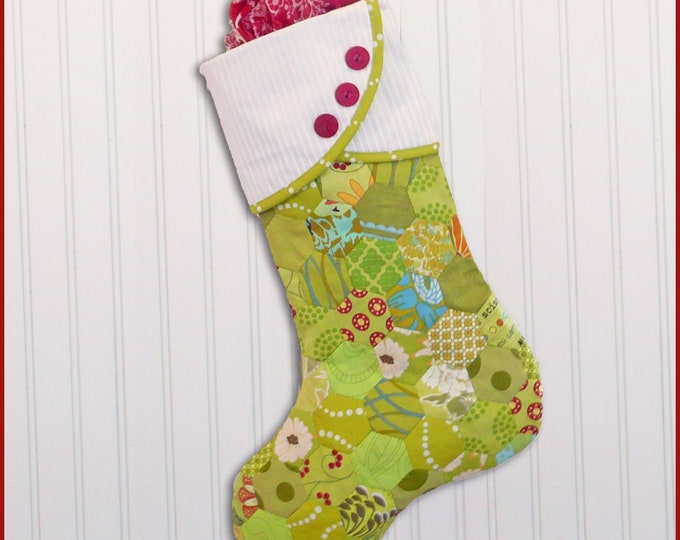 "Sew Very Merry 18"" Stocking Pattern designed by Sewn into the Fabric...Pieces of our Lives"