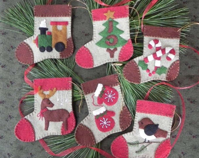 """Warm Feet Kit to make 6 Ornaments, each stocking is approx., 4"""" x 4 1/2"""""""