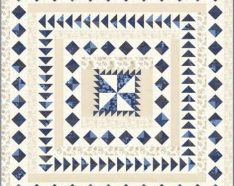 """Regency Blues Quilt Kit designed by Christopher Wilson-Tate for Moda Fabrics, finished size is 78"""" x 78"""""""