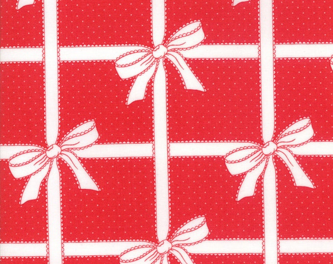 Vintage Holiday Red Bows designed by Bonnie & Camille for Moda Fabrics, 100% Premium Cotton by the Yard