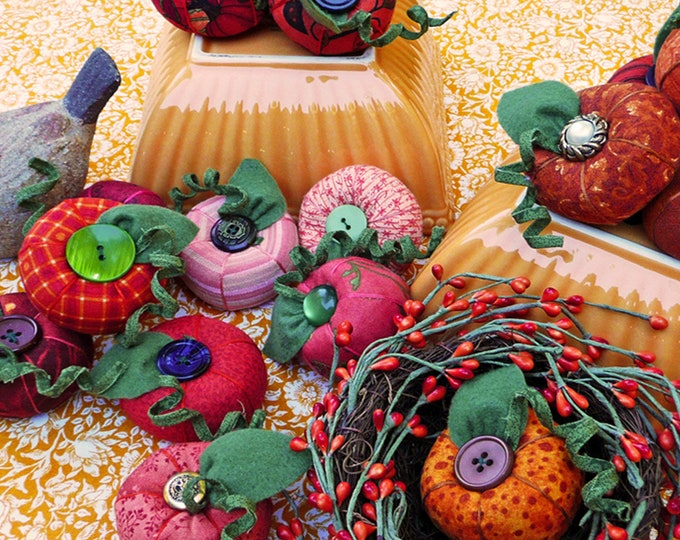 Big Delores Pumpkin Pincushion Pattern designed by Sewn into the Fabric...Pieces of our Lives